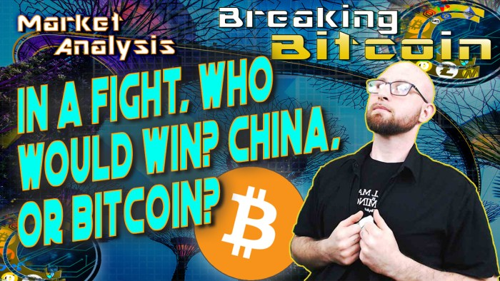 text in a fight, who would win? China or Bitcoin?! next to justin holding his button up shirt looking up in wonder with graphic background and bitcoin logo