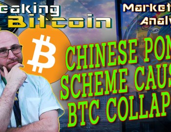 text chinese ponzi scheme causes btc collapse next to justin looking at camera with hand on chin thinking with graphic background and bitcoin logo