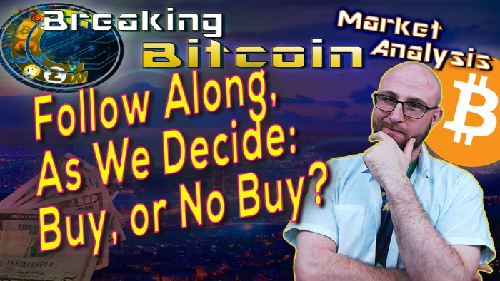 text follow along as we decide: buy or no buy next to justin looking at camera with hand on chin thinking and graphic cityscape background and bitcoin logo