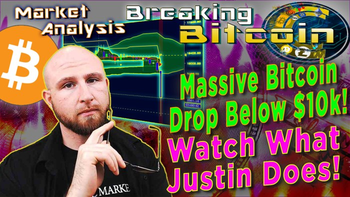 text massive bitcoin crash below $10K! Watch what justin does! next to justin with glasses in hand up to face thinking concerned faced with dollar money burning graphic background bitcoin logo and chart of bitcoin crash september 09-24-2019