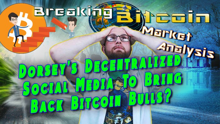 dorsey's decentralized social media to bring back bitcoin bulls over justin with hands on head exasperated face with graphic light shining background and bitcoin logo
