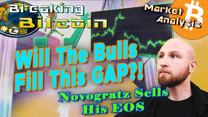 text will the bulls fill this gap? novogratz sells eos next to justin looking up at the words with graphic background and chart picture of the CME future gap that bitcoin price will fill and bitcoin logo