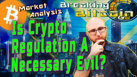 text is crypto regulation a necessary evil next to justin with hand on chin thinking and city landscape graphic background with bitcoin logo