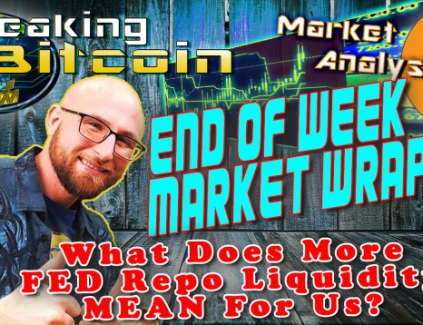 text end of week market wrap up and what does the fed repo liquidity rising mean for us background graphic and bitcoin logo