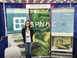 Lindsay Walker (pictured) and Allison Vitkus volunteered at the SPNHC booth at GSA in Baltimore, MD.