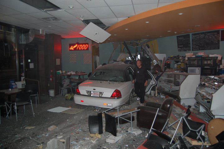 Blacktop Cabs Drives Into Cafe