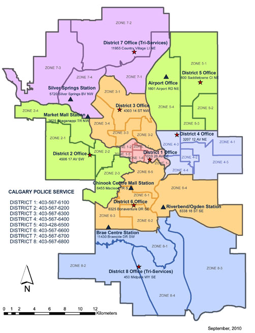 Each district is also separated into zones.