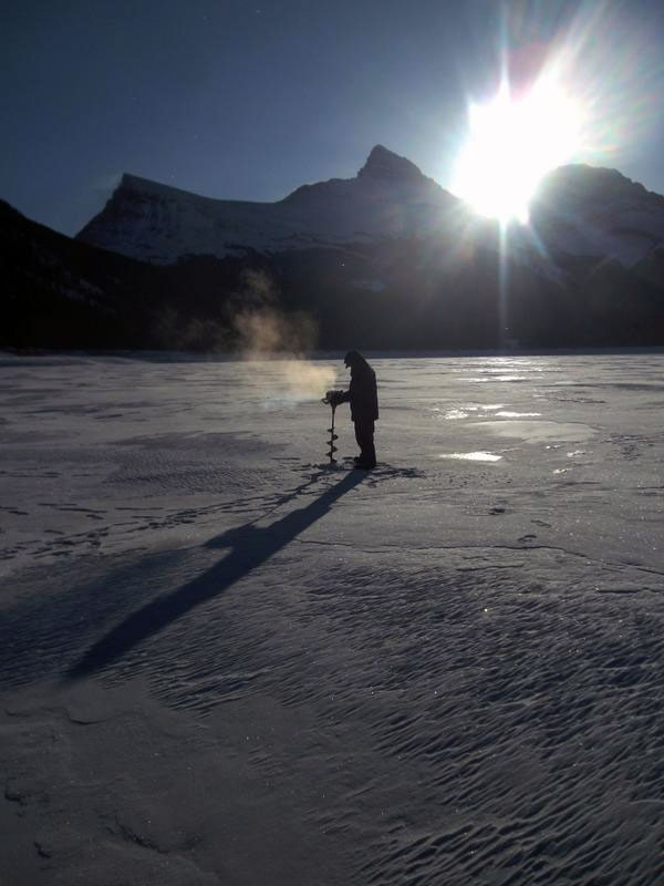 Ice Fishing First Time Spray Lakes by Canmore, Alberta