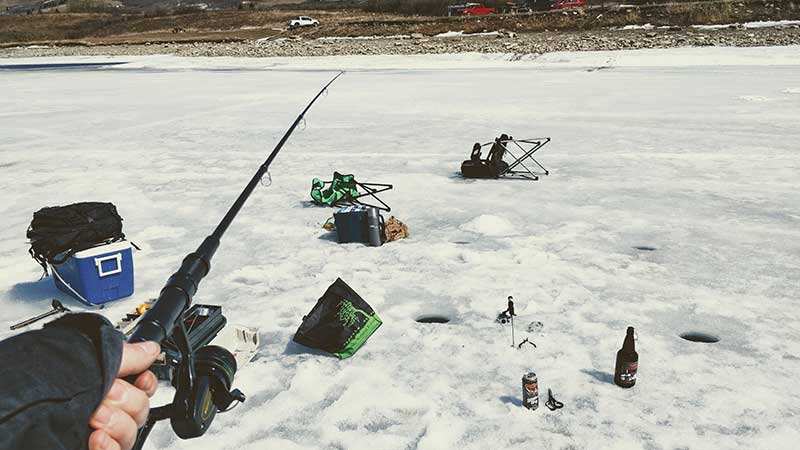 Ice Fishing Chain Lakes Reservoir in Alberta