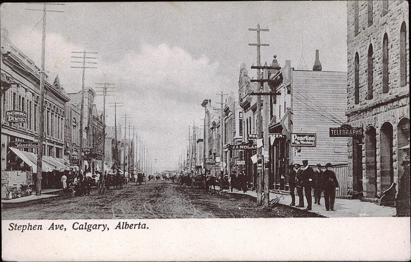 Historical Calgary Stephen Avenue Postcard