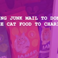 Using junk mail coupons to donate cat food to charity