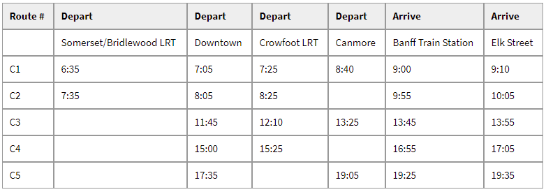 Banff Without A Car On-it Regional Transit Schedule
