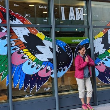 Calgary Pride Angel Wings Mural On Stephen Avenue