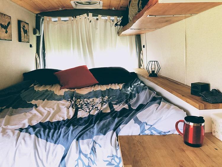 Karma Campervans bedding inside