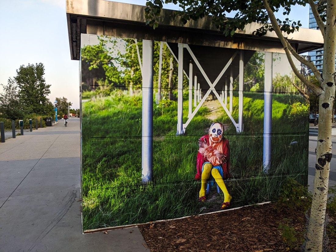 East Village Mask Mural under bridges