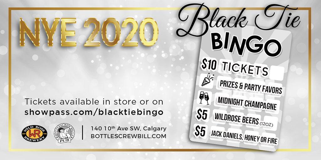 Things To do in Calgary for New Years Eve 2020 Bottlescrew Bills Black Tie Bingo