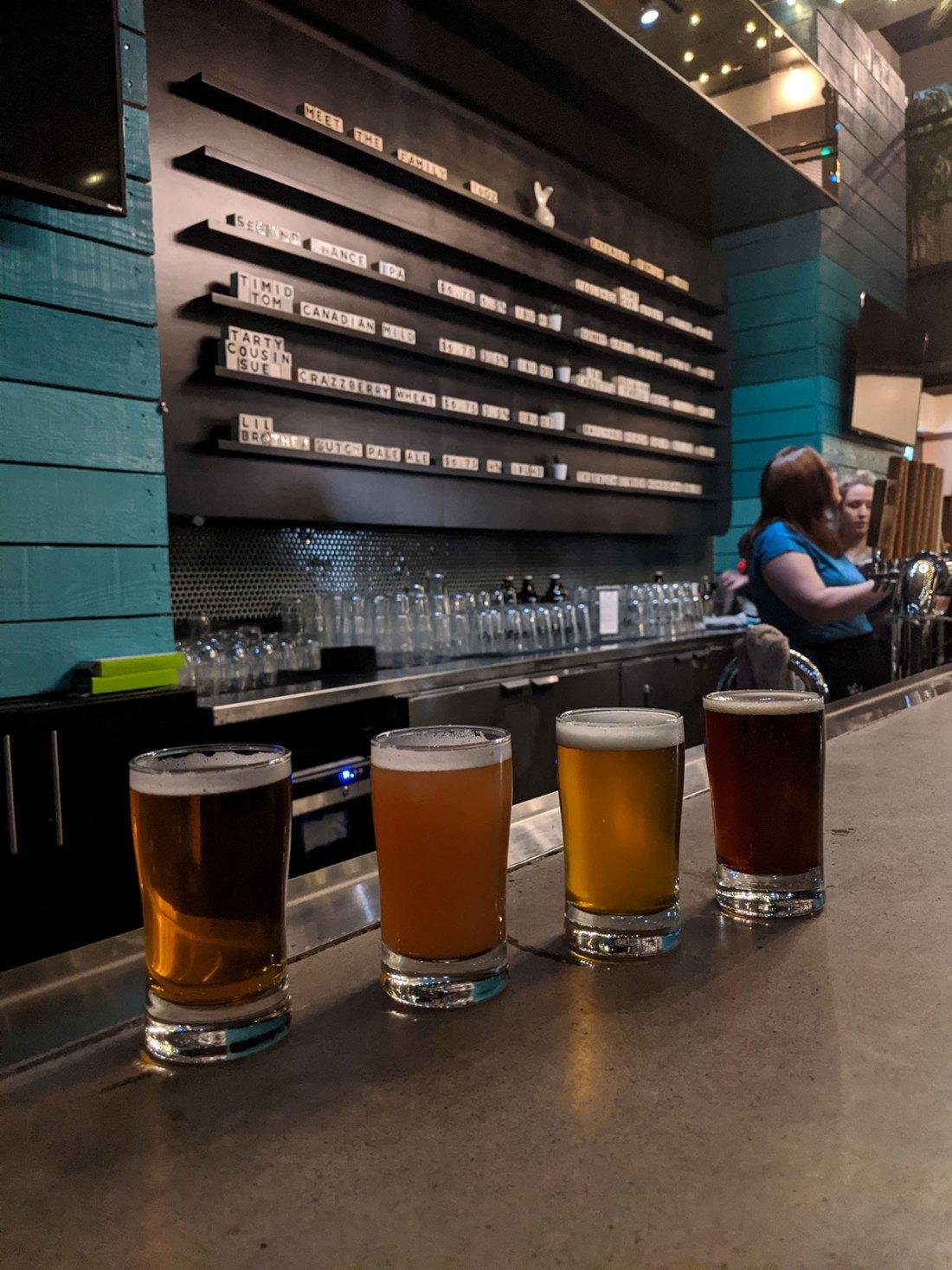 Bitter Sisters Brewing Company inside wall menu