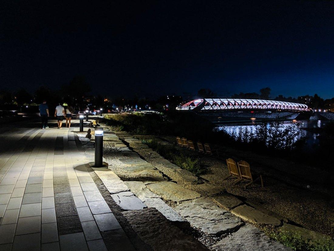 The Peace Bridge in Calgary warm summer night