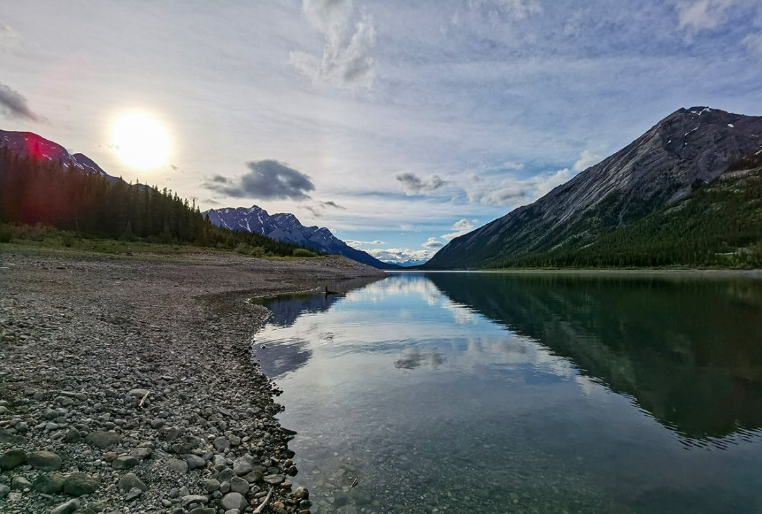 Getting started fishing in Alberta, header image of Spray Lakes Reservoir