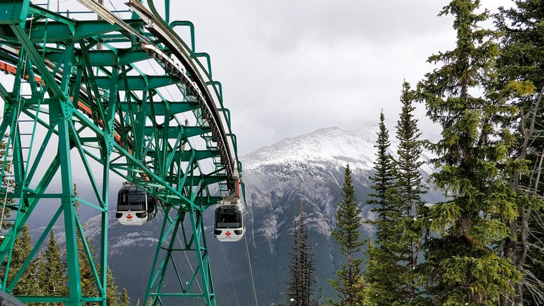 Guide To The Banff Gondola upper terminal looking at the Gondola cars and Rundle Mountain range