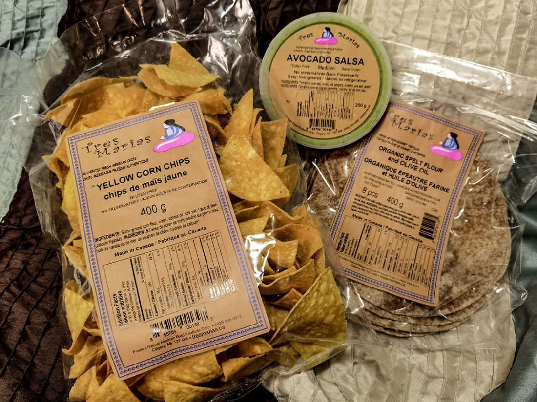 Best of Calgary Foods - Tres Marias Mexican Food Market Yellow Corn Chips with Avocado Salsa and organic spelt flour with olive oil wraps