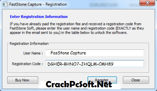 FastStone Capture 8.9 Registration Code