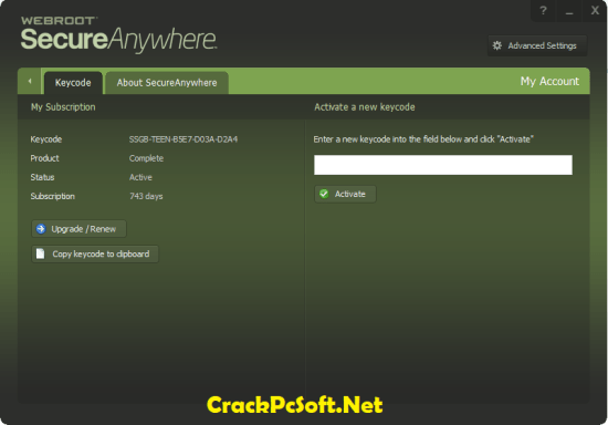 Webroot SecureAnywhere Antivirus Lifetime Key