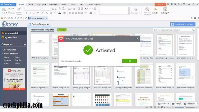 WPS Office Free 11.2.0.9363 CRACK & ACTIVATION CODE DOWNLOAD