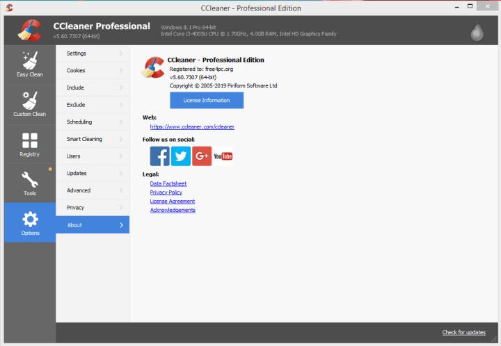 CCleaner Professional License Keys