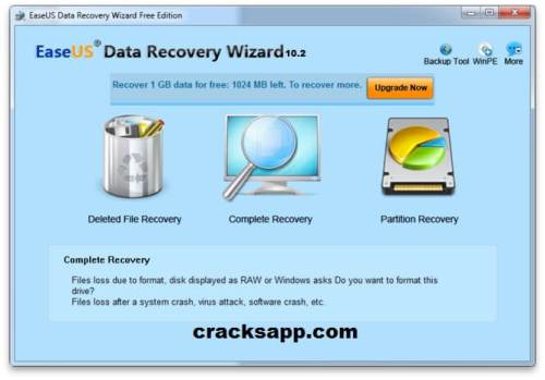 EaseUS Data Recovery Wizard Professional 10.2 Crack Free