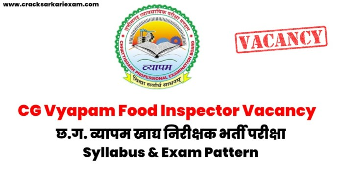CG Vyapam Food Inspector Vacancy 2021