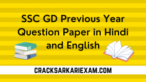 SSC GD Previous Year Question Paper 2019 in Hindi and English