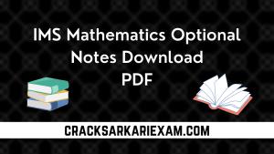 IMS Mathematics Optional Notes PDF