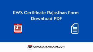 EWS Certificate Rajasthan Form Download PDF