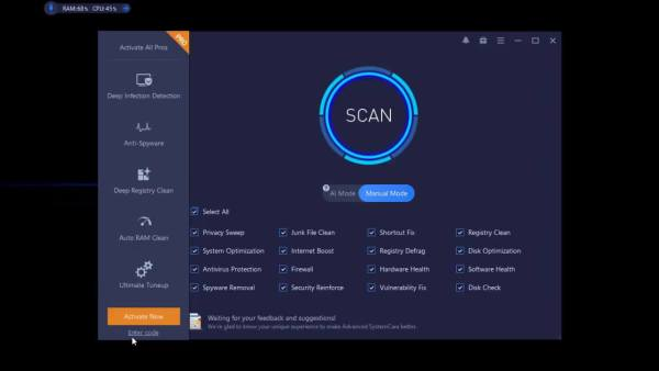 Advanced SystemCare Pro Activation Code [Tested] Free Download