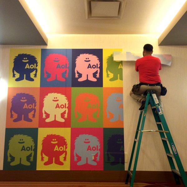Wallpaper wall graphics are an original branding device