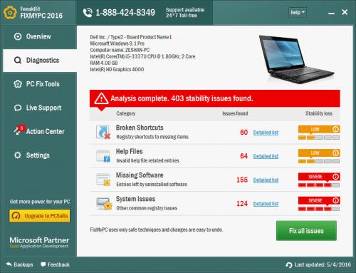 TweakBit FixMyPC 2016 Crack Patch incl Keygen Free Download