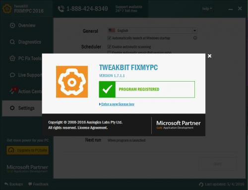 TweakBit FixMyPC 2016 Serial Key 7 Crack Full Free Download