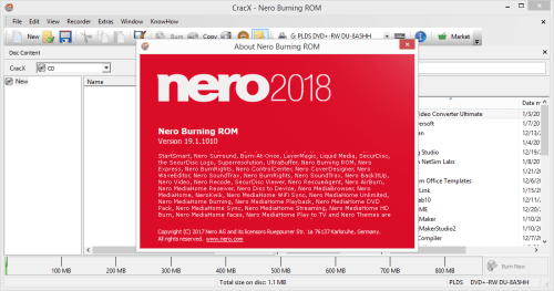 Nero Burning ROM 2018 19.1.1010 Keygen & Activator Download