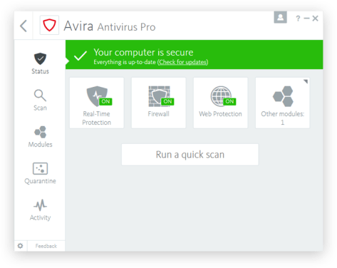 Avira Antivirus Pro 15.0 With License valid till 2020