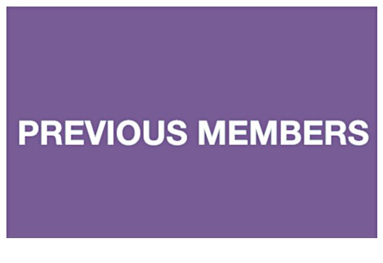 """""""Previous Members"""" on a purple background. White text."""