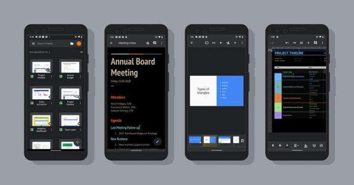 Google rolls out the dark mode for Android Docs, Sheets, and Slides