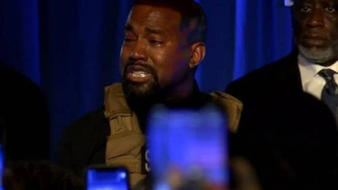 Kanye broke down in tears and revealed to the crowd that his father wanted to abort him