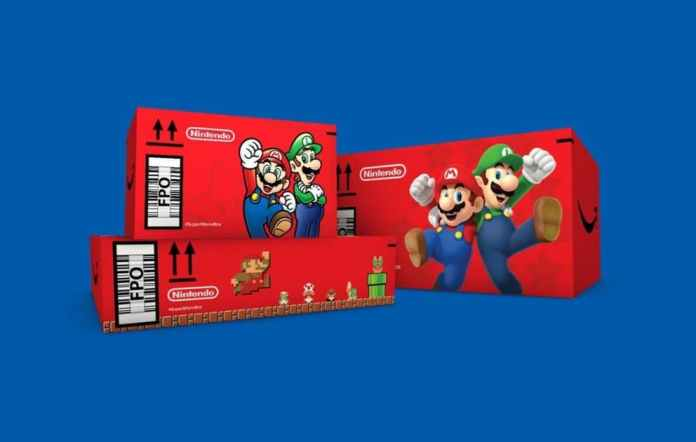 Amazon Shipping Orders in Mario-themed Boxes