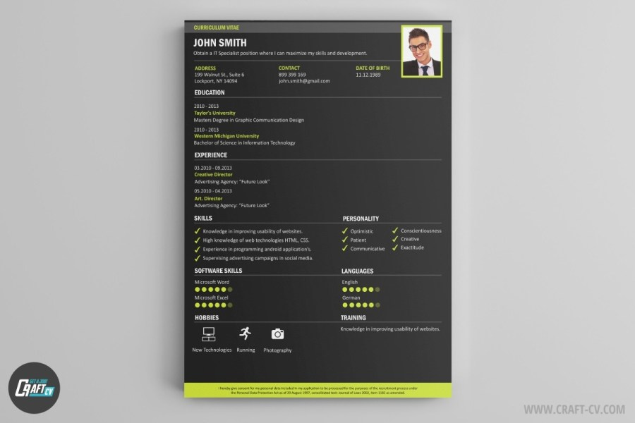 CV Maker   Professional CV Examples   Online CV Builder   CraftCv Smart is a CV template aimed at individuals who have just started their  professional career  It is characterized by a simple  traditional design
