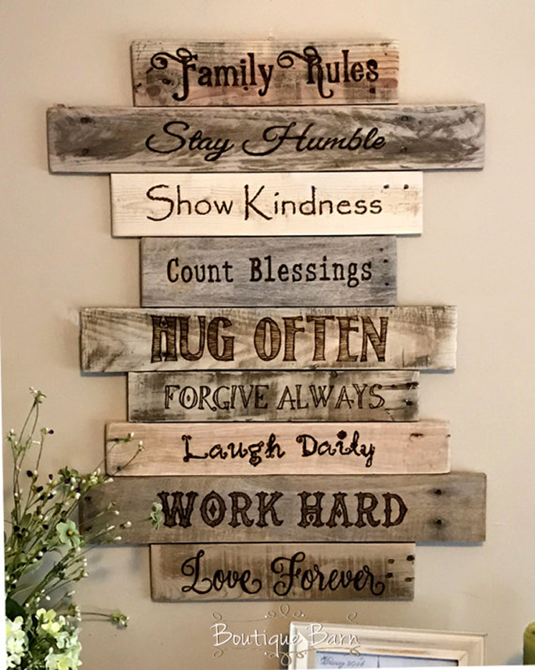 18 Rustic Wall Art & Decor Ideas That Will Transform Your ... on Home Wall Decor Signs id=54818