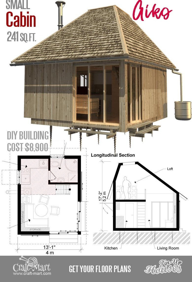 Cute Small Cabin Plans A Frame Tiny House Plans Cottages | House Plans With Stairs In Kitchen | Luxury | Separate Kitchen | Compact Home | 2 Bedroom Townhome | Central Courtyard House