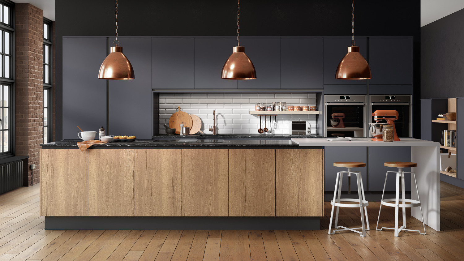 Inset Cube Dark Blue Sheraton Handleless Kitchens Omega Plc
