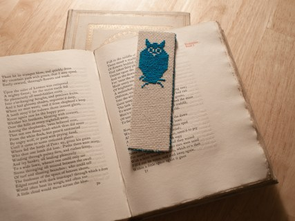 Cross-stitched Owl bookmark.