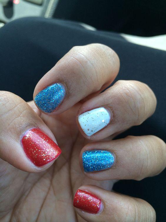 Patriotic Nail Art Red White Blue #patrioticnails